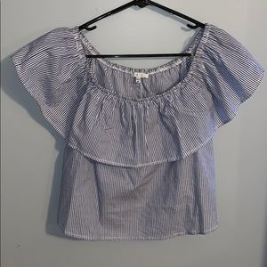 Blue and white pin stripe off the shoulder top